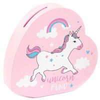 Pink Heart Unicorn Fund Money Box Savings Bank